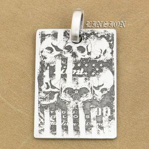 LINSION Deep Gravé High Detail Personnalisable 925 Sterling Silver Skulls Dog Tag Hommes Biker Rocker Punk Pendentif 9X008 Just Pendant