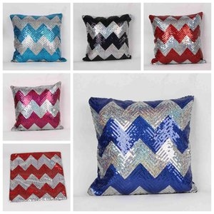 Wholesale Reversible Sequin Cushion Cover Mermaid Sequin Pillow double colors wave Pillow Cover Home Decorative Pillowcase FEDEX DHL Ship