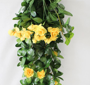 Simulation rattan rhododendron wall hanging plant living room decoration wall hanging green radish leaves leaves plastic flowers