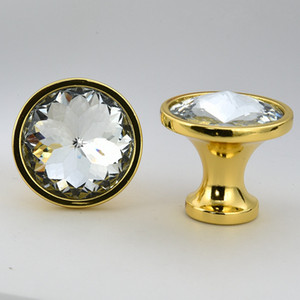 25MM 30MM Modernos simples gabinetes de cocina de gabinete de cocina de oro plateado manijas de puertas transparentes Bauhinia flor perillas de cajón de cristal de vidrio tiradores
