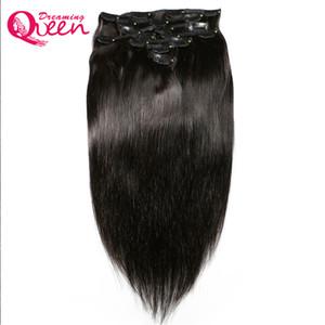Бразильские прямые заколки для волос в расширениях человеческих волос 120 г 8 шт./компл. 1 пучки 18 клипов Ins бразильские девственные человеческие волосы расширение