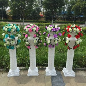 New Arrival White Roman Column with Artificial Silk Rose Flower Bouquet Sets Road Lead Pillar For Wedding Decoarion Free Shipping