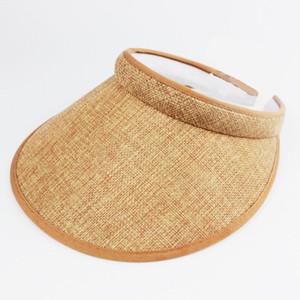 Fashion Linen Clip-On Empty Top Sun Visor Hat Summer Imitation Linen Cap Wide Brim Sun Protection Hats For Men And Women