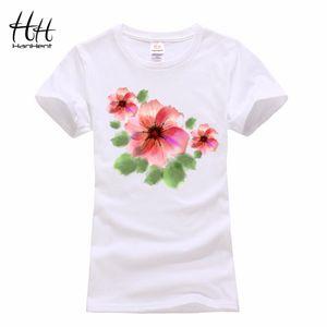 Wholesale- Hanhent 여성 여름 잉크 꽃 인쇄 T 셔츠 고품질 O- 넥 T- 셔츠 생생한 중국 스타일 Streetwear 핑크 탑