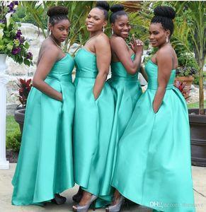 Turquesa Hi Lo Estilo Árabe Vestidos Dama De Honra Com Bolsos De Cetim Plus Size Negerian Convidado Do Casamento Africano Empregada De Honra Vestidos De Festa