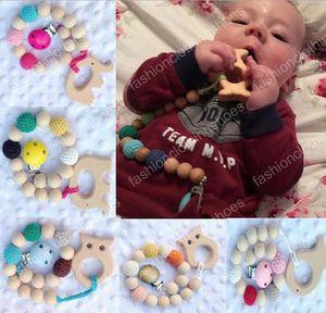 10 colori perline all'uncinetto regalo nascita nascita ciuccio clip supporto fittizio naturale perline in legno uncinetto coperto con giocattoli elefante in legno