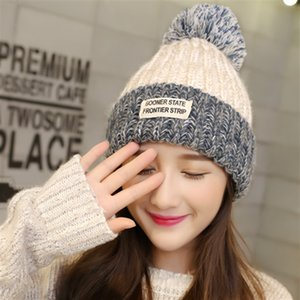 2017 New Women Woolen Yarn Hats Autumn Winter Hat Small Bee Pattern Four Color knitting Female Skullies Beanies