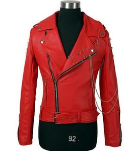 Ceinture à glissière oblique noire originale épaulette courte mode veste en cuir PU manteau mens faux cuir moto vestes et manteaux