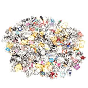 100 unids / lote de alta calidad DIY aleación mixta diferentes tipos encantos flotantes para memoria de vidrio medallones buena calidad y envío gratis