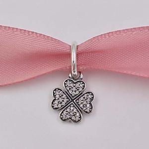 Otantik 925 Gümüş Boncuk Köpüklü Lucky Clover kolye Charm Charms Uyumlar Avrupa Pandora Stil Takı Bilezikler Kolye 791