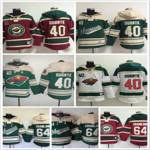 Minnesota Wild Kapuzenpullis 40 Devan Dubnyk 64 Mikael Granlund Eishockey Kapuzenpullis Sweatshirts grün rot weiß
