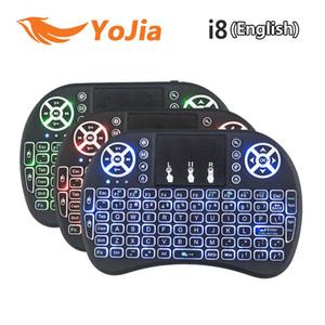 20pcs sans fil rétroéclairé i8 clavier rétroéclairé Rétro-éclairage à distance Air Souris avec pavé tactile de poche pour TV BOX X96 Mini Plus T95 M8S