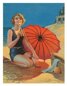Reines handgemaltes Modernes Portrait Art Ölgemälde Mädchen Strand rote Regenschirm, Haus-Wand-Dekor-Qualitäts-Leinwand Multi Größen