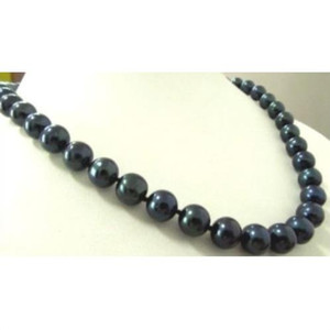 CHARMING 22inch TRULY ROUND 10-11MM TAHITIAN BLACK PEARL NECKLACE GOLD CLASP