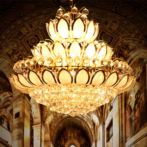 Modern Gold Crystal Chandeliers Lights Fixture American American Lotus Flower Chandelier Golden Crystal Droplight Home Interior Hotel Lighting