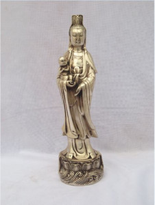 Античный антиквариат коллекционные украшенные старые ручной работы 10 дюймов Тибет серебро резные Guanyin SongZi статуя / Куан Инь Будда скульптура