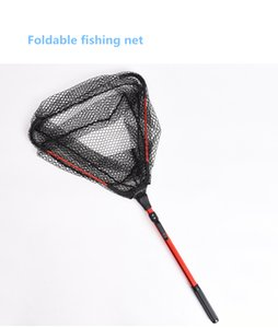 1pcs of Foldable Fishing Hand Net Aluminum Alloy Handle Silica Gel Small Mesh Net Fly Pesca Fishing Nets Accessories