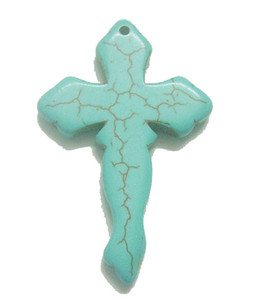 10 unids / lote Turquesa cruz colgante encantos Fit collar DIY Craft collar colgante de joyería T46 envío gratis