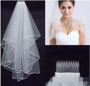 2019 Ücretsiz Kargo Düğün Veils Beyaz İki Katmanlı Dantel Akan Düğün Aksesuarları Toptan Düğün Veils Gelin Aksesuarları