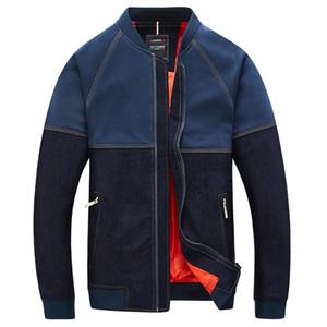 Atacado- 2016 Moda Patchwork Jaqueta Jeans Homens Gola De Beisebol Ativo Mens Jaqueta Bomber Jackets Zipper Pockets Casaco Blusão