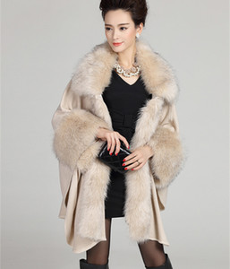Wholesale-2015 Autumn Winter Women's Long Cardigans Fake  Fur Collar Cashmere Sweaters Shawl Knitted Cardigan Poncho Cape GH130