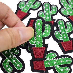 Diy cacti patches for clothing iron embroidered patch applique iron on patches sewing accessories badge stickers on clothes bag DZ-030