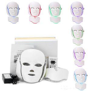 Maschera facciale del collo di 7 colori LED EMS Microelectronics LED Photon maschera antirughe ringiovanimento della pelle ringiovanimento per viso e collo bellezza
