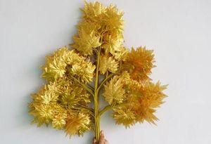 Folha dourada e vermelha folha de bordo verde esqueleto de folha de bordo Prateada dourada folhas artificiais folhas de seda artificial ramo de bordo 12pcs / lote AP003