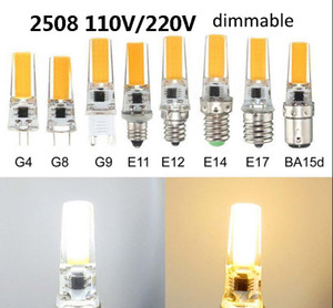 LED de maïs Ampoules Dimmable Corps silicone lampe G4 G8 G9 E11 E12 E17 E14 BA15D 110V 220V COB 2508 ampoule lumière blanche