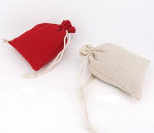 Sacs en toile de coton cadeau cordon cordon sacs à bijoux pochette étui en mousseline emballage faveur de mariage titulaire 10 * 13cm 100pcs / lot