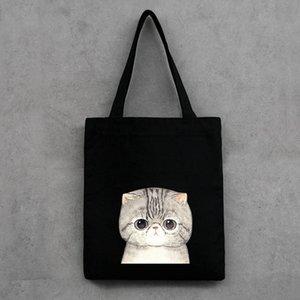 Cute Cat Printed Women's Casual Tote Female Daily Use Female Shopping Bag Ladies Single Shoulder Handbag Simple Beach Bag