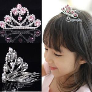 Princesa Headpieces Tiaras Girls Crystal Tiaras Coronas Love Heart Girls Baby Kids Wedding Party Accesorios para el Cabello Peineta