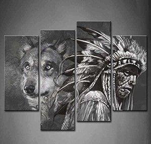 BANMU 4 Panneau de Paré Arte Blanco Y Negro Lobo E Indios pintar La Imagen Impresion en Lienzo Animal Photos Para la Decoración Casera
