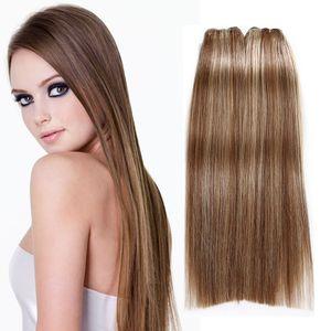 """P6 / 613 # Hint Brezilyalı Perulu İnsan Virgin Saç Uzantıları 3 Adet / grup 100 g / adet düz Saç Demetleri 8 """"-30"""" Sarışın Hint Saç"""