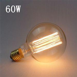Bombilla incandescente Vintage G95 E27 60W 220V blanco cálido filamento de tungsteno bombilla de vidrio retro para lámpara