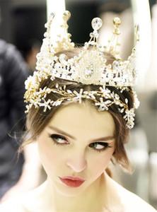 Reine Full Round Couronne Diadème De Mariée Bandeau De Cristal Strass Accessoires De Cheveux Bijoux Headpiece Perles Coiffure Or Pas Cher
