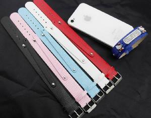 Großhandel - 50pcs / lot 18 + 8mm PU Leder Armband Armband Fit für 8mm Slide Letters Charms DIY Zubehör