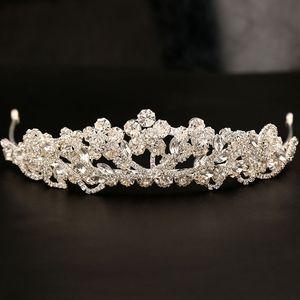 Hermosa plata brillante boda grande Diamante concurso Tiaras Hairband cristal coronas nupciales para novias pelo joya casco