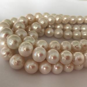 12-14mm blanc perles de culture d'eau douce rondes perles en vrac Gem Stone Spacer perles DIY bijoux pour la fabrication de bijoux fournitures pas cher en gros
