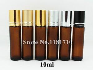 Free Shipping 10ml Amber Glass Roll On Bottle with Glass Ball Perfume Roller Bottle Aluminum Cap Essential Oil Bottle Refillable