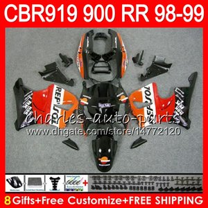 바디 용 혼다 CBR 919RR CBR900RR CBR919RR 98 99 CBR 900RR 68NO18 렙솔 블랙 CBR919 RR CBR900 RR CBR 919 RR 1998 1999 페어링 키트 8 개