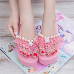 Wholesale-Designer Hot Sale 2016 Summer Lolita Woman Lace Beading Rhinestone Flip Flops Shoes Female High Platform Flat Sandals Slide Shoe