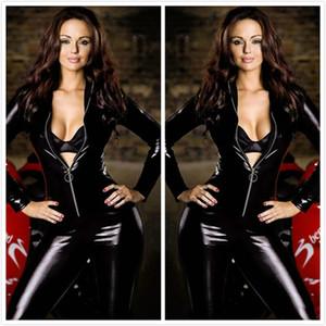 Seksi Siyah Faux Deri Catsuit Uzun Kollu Sıkı Bodycon Bodysuit Fermuar Ön Motosiklet Giyim Playsuit Clubwear