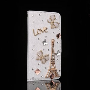 Bling Rhinestones Shiny Eiffel Tower White Flip Leather Phone Case Cover for Iphone 5G 5S 6G 6S For Samsung Galaxy Note5 Bag Case