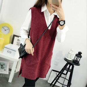 Atacado- 2016 Nova primavera outono camisola mulheres 4 cores sólidas com decote em V de malha pullovers Vest Vestido longo seção de todos os jogo das mulheres coreano