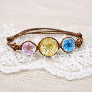 Pulseras de flores de cristal hecho a mano de moda hecho a mano Especímenes de plantas Cadenas Pulseras creativas del encanto