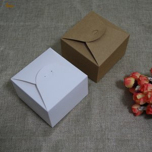 20pcs / lot 9x9x6cm Weiß Mini Quadrat Keksdosen - Brown Kraft, koreanische kleine Schokolade Macaron Box Geschenk DIY Verpackung