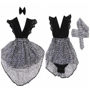 Niñas de verano vestidos con estampado de leopardo ropa para bebés niños arco del arco vestido de manga de encaje hermanitas que coinciden con ropa de bebé mameluco negro en stock