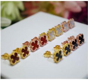 925 brincos de prata esterlina modelos femininos versão Coreana dos quatro grama trevo rosa de ouro preto ágata mini brincos brincos atacado