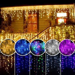 yılbaşı dış dekorasyon 3.5m Sarkıt 0.3-0.5m perde saçağı dize led ışıklar 220V / 110V Yeni yıl Bahçe Noel Düğün
